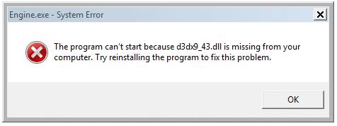 sửa lỗi thiêu file D3DX9_43.dll